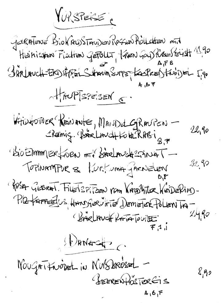 Aktuelle Wochenkarte Gasthaus Lorbaer