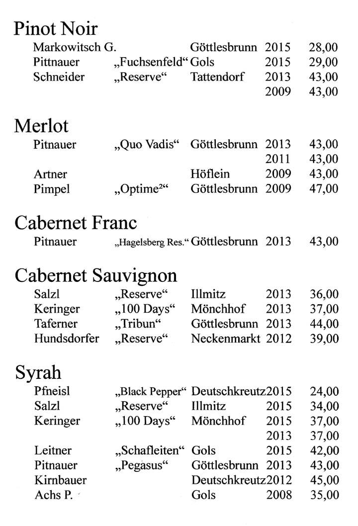 Pinot Noir - Merlot - Cabernet Franc - Cabernet Sauvignon  - Syrah