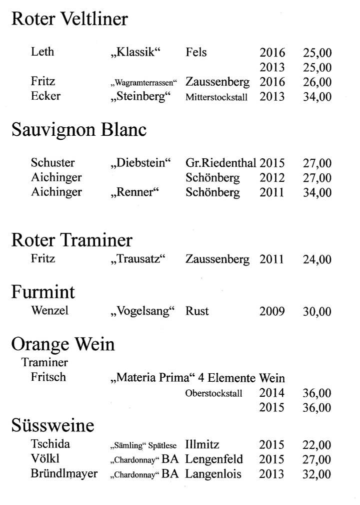 Roter Veltliner - Sauvignon Blanc - Roter Traminer - Furmint - Orange Wein - Süßwein